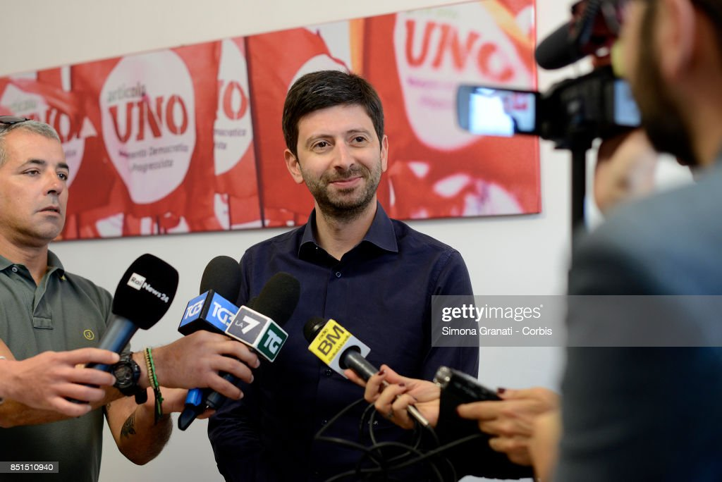 Roberto Speranza makes statements to the press in the Headquarter of the Movimento Democratici e progressisti (Democratic and Progressive Movement) in Via Zanardelli at the end of the meeting with Andrea Orlando,on September 22, 2017 in Rome, Italy.
