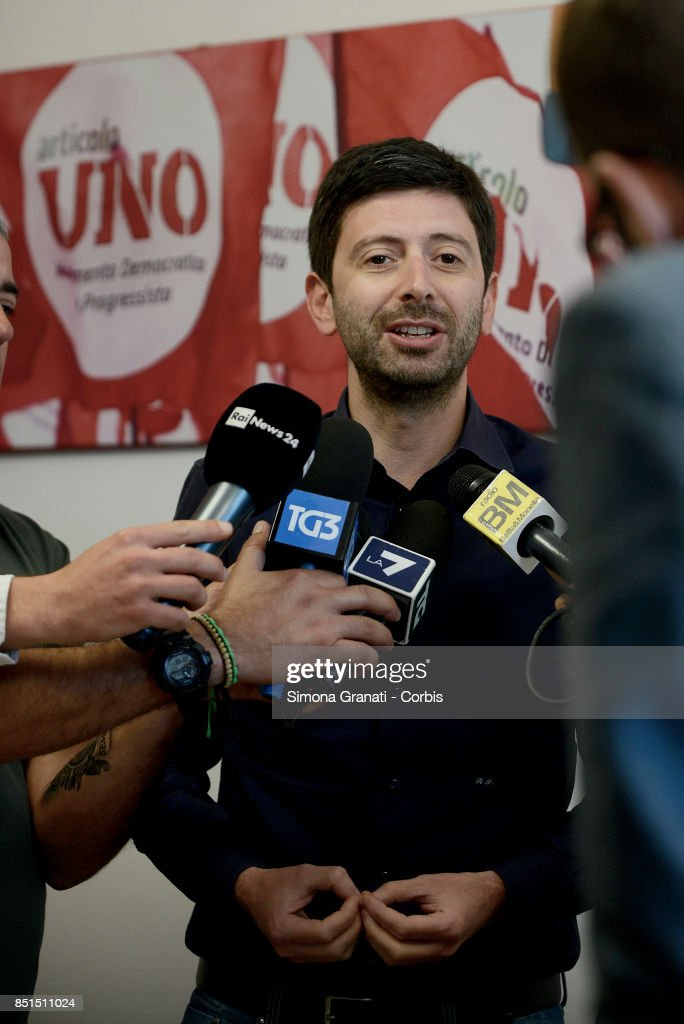 Roberto Speranza makes statements to the press in the Headquarter of the Movimento Democratici e progressisti (Democratic and Progressive Movement( in Via Zanardelli at the end of the meeting with Andrea Orlando,on September 22, 2017 in Rome, Italy.
