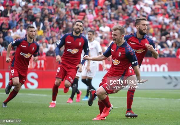 Roberto Torres of CA Osasuna celebrates a goal during the Spanish League La Liga football match played between Sevilla FC and CA Osasuna at Ramon...