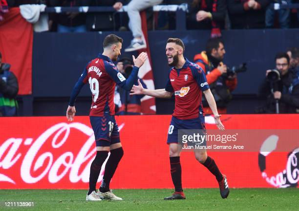 Roberto Torres of CA Osasuna celebrates after scoring goal during the Liga match between CA Osasuna and RCD Espanyol at El Sadar Stadium on March 08,...