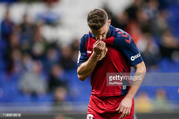 Roberto Torres of CA Osasuna celebrating his goal during the La Liga Santander match between RCD Espanyol and CA Osasuna and in RCD Stadium in...