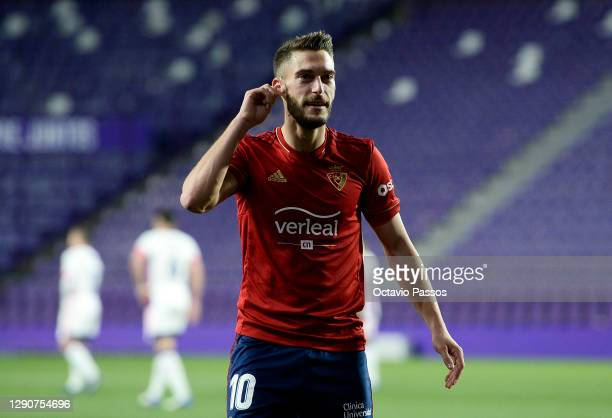 Roberto Torres of Osasuna celebrates after scoring their sides second goal during the La Liga Santander match between Real Valladolid CF and C.A....
