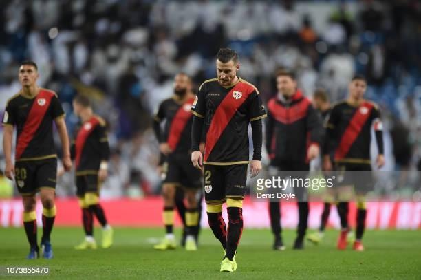 Roberto Triguero of Rayo Vallecano de Madrid reacts after loosing the La Liga match between Real Madrid CF and Rayo Vallecano de Madrid at Estadio...