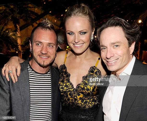 Roberto Zincone, actress Malin Akerman and actor Chris Kattan attend HBO after party for the 62nd Primetime Emmy Awards at Pacific Design Center on...