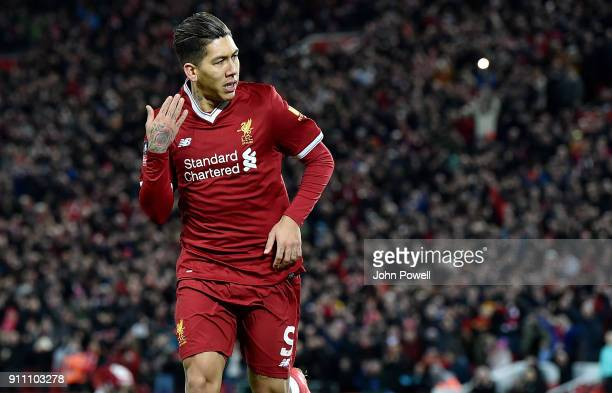 Roberton Firmino of Liverpool celebrates scoring the opening goal during The Emirates FA Cup Fourth Round match between Liverpool and West Bromwich...