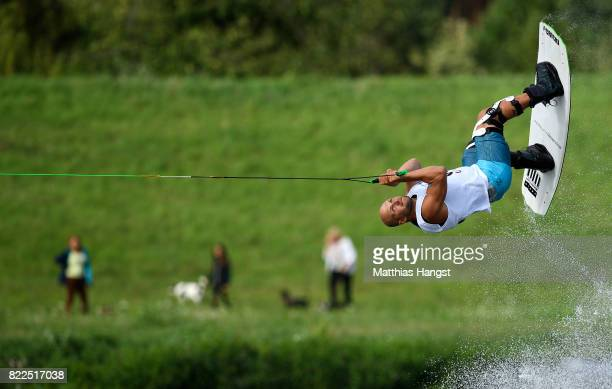 Roberts Linavskis of Latvia competes during the Wakeboard Freestyle Men's Quarterfinal of The World Games at Old Odra River on July 25 2017 in...