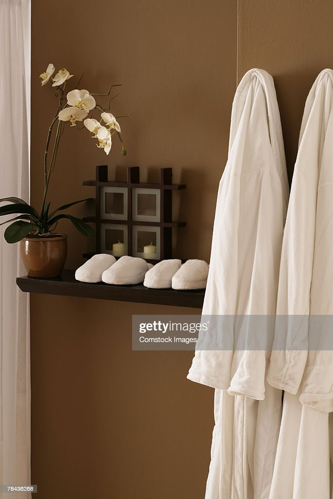 Robes and slippers : Stockfoto