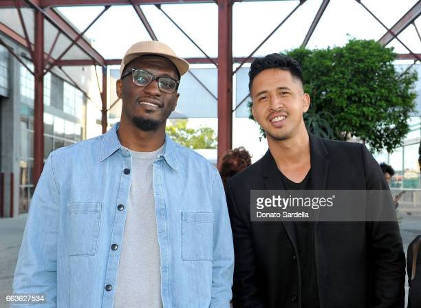 Robeson Taj Frazier and Walter ThompsonHernandez attend MOCA's Leadership Circle and Members' Opening of 'Carl Andre Sculpture as Place 19582010' and...