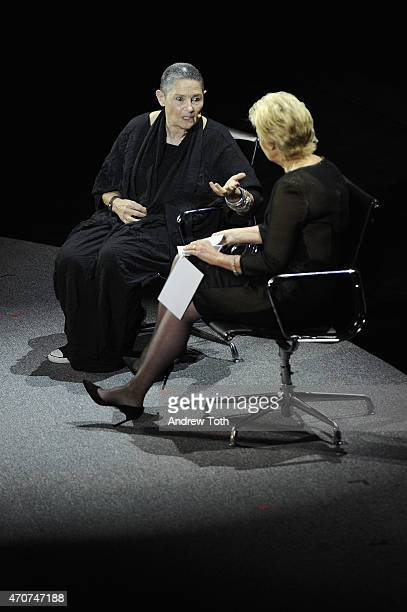 Robi Damelin of Parents Circle Families Forum and journalist Tina Brown speak onstage during the Women In World Summit at the David H Koch Theater at...