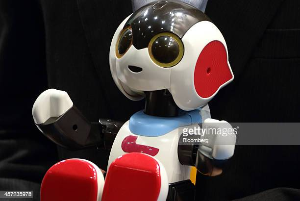 A Robi Jr talking robot developed by Tomy Co is held by an attendee at Japan Robot Week 2014 in Tokyo Japan on Wednesday Oct 15 2014 The exhibition...