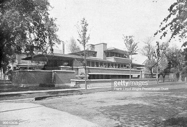Robie house exterior from the southwest shortly after construction completed Chicago Illinois ca 1910