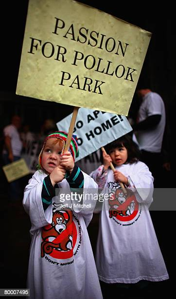 Robin Alderslowe and Maya Hepburn take part in a protest against proposed changes to Pollock Country Park February 26, 2008 in Glasgow, Scotland. The...