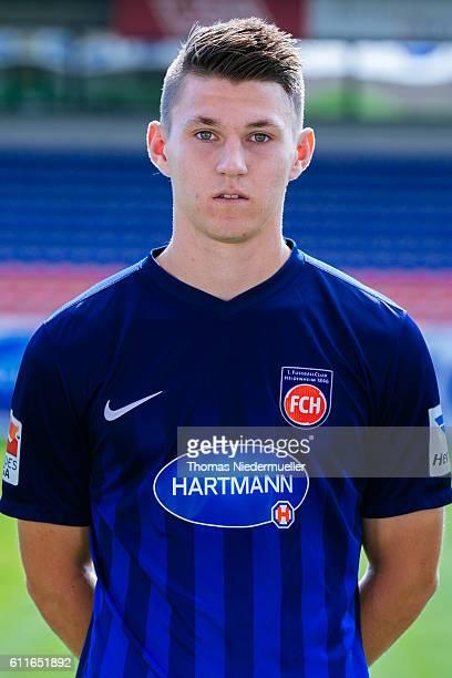 Robin Becker poses during the 1FC Heidenheim team presentation at VoithArena on September 30 2016 in Heidenheim Germany