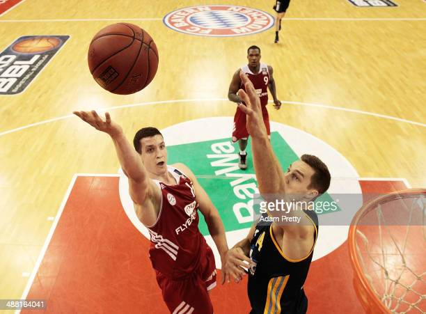 Robin Benzing of Bayern Muenchen goes for a layup during the basketball match between Bayern Muenchen and ALBA Berlin at AudiDome on May 4 2014 in...