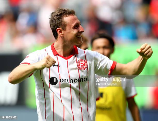 Robin Bormuth of Duesseldorf celebrates after the Second Bundesliga match between Fortuna Duesseldorf and FC Ingolstadt 04 at EspritArena on April 22...