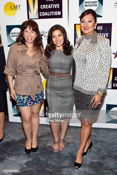 Robin Bronk America Ferrera and Lani Hay pose for a photo at the screening of 'The Dry Land' presented by The Creative Coalition at the Naval...