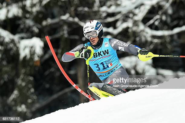 Robin Buffet of France competes during the Audi FIS Alpine Ski World Cup Men's Slalom on January 15 2017 in Wengen Switzerland