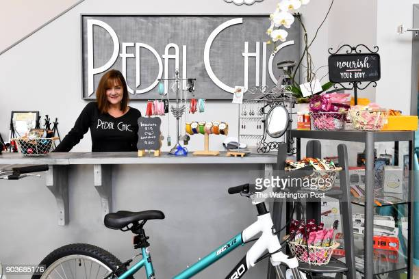 Robin Bylenga owner of Pedal Chic designed a bike shop geared towards women the first of its kind in the US where she poses in the showroom December...
