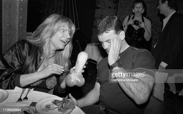 Robin Byrd and John Wayne Bobbitt at Michael Musto's birthday part at Tunnel nightclub in March 1993 in New York City New York