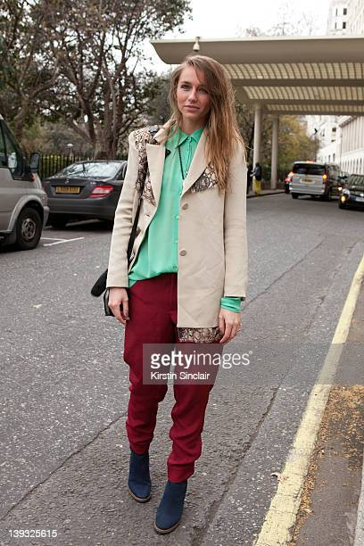 Robin C wearing Alexander Way bag Kurt Geiger shoes street style at London fashion week autumn/winter 2012 womenswear shows on February 18 2012 in...