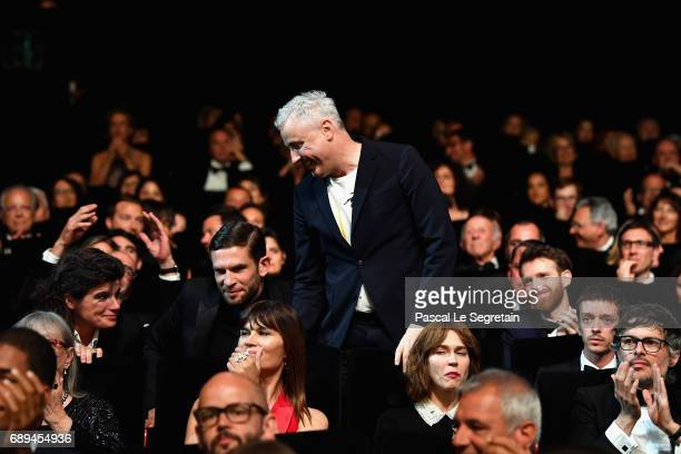 Robin Campillo receives the Grand Prix for the movie '120 Beats Per Minute' during the Closing Ceremony of the 70th annual Cannes Film Festival at...