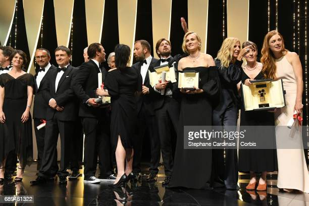 Robin Campillo winner of the Grand Prix for the movie '120 Beats Per Minute' Joaquin Phoenix winner of the award for Best Actor for his part in the...