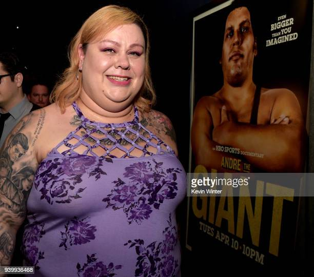 Robin Christensen Andre's daughter poses at the after party for the premiere of HBO's 'Andre The Giant' at Le Jardin on March 29 2018 in Los Angeles...