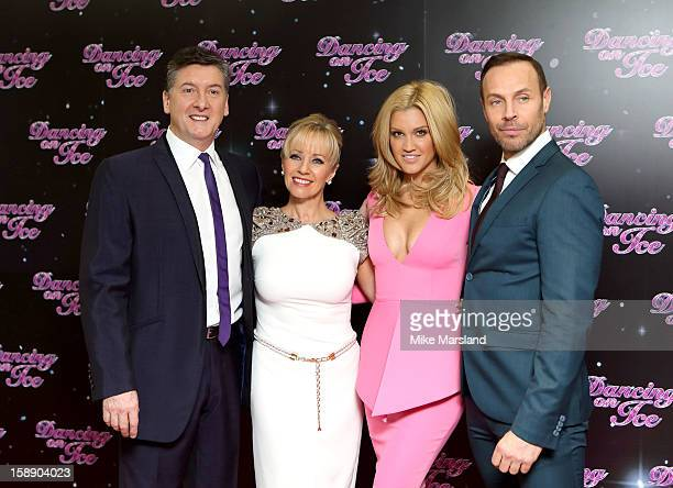 Robin Cousins Karen Barber Ashley Roberts and Jason Gardiner attends a photocall for the launch of Dancing on Ice 2013 at The London Television...