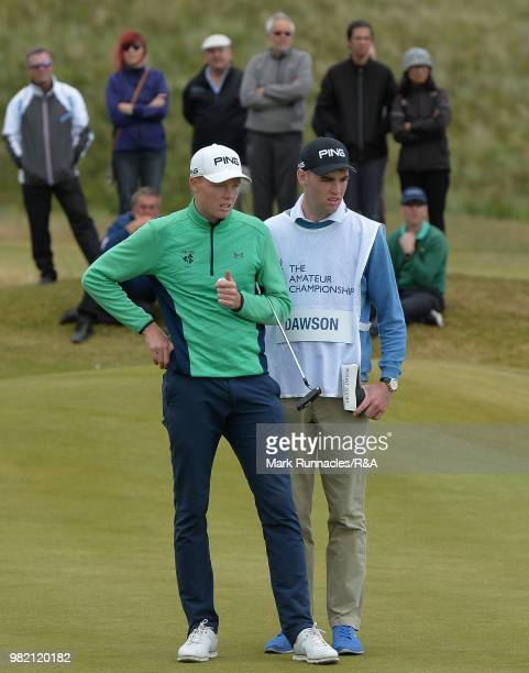 Robin Dawson of Tramore lines up a putt at the 13th green during the Final of The Amateur Championship at Royal Aberdeen on June 23 2018 in Aberdeen...