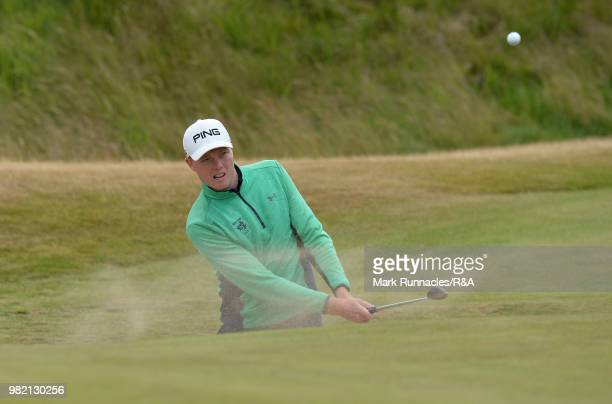 Robin Dawson of Tramore plays a bunker shot at 8th green during the Final of The Amateur Championship at Royal Aberdeen on June 23 2018 in Aberdeen...