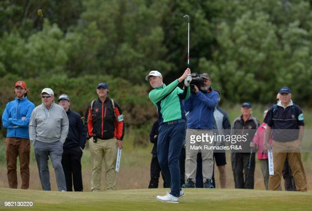 Robin Dawson of Tramore plays his second shot at 14th hole during the Final of The Amateur Championship at Royal Aberdeen on June 23 2018 in Aberdeen...