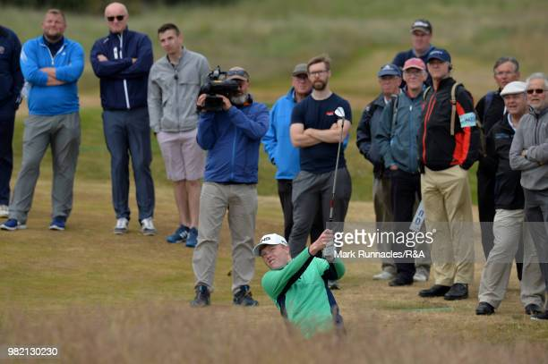 Robin Dawson of Tramore plays his second shot at 15th hole during the Final of The Amateur Championship at Royal Aberdeen on June 23 2018 in Aberdeen...