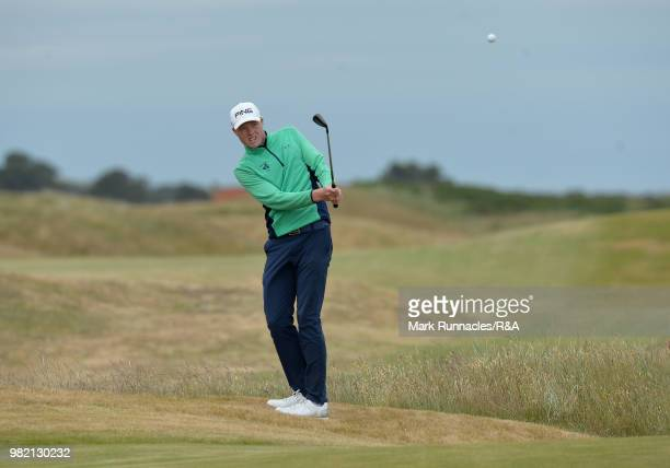 Robin Dawson of Tramore plays his second shot at 6th green during the Final of The Amateur Championship at Royal Aberdeen on June 23 2018 in Aberdeen...