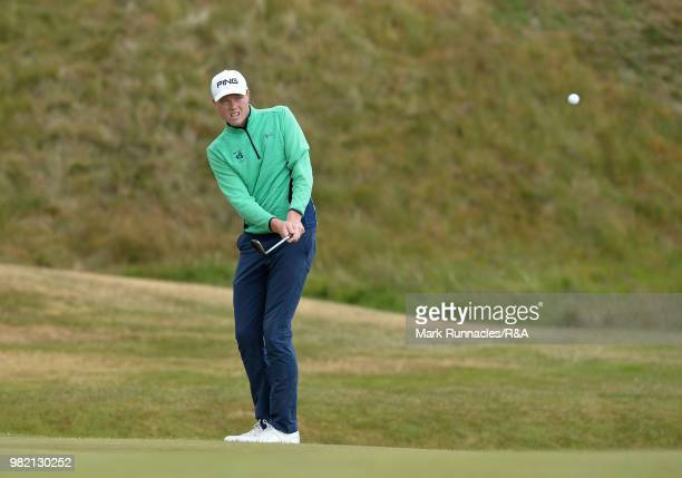 Robin Dawson of Tramore plays his second shot at 7th green during the Final of The Amateur Championship at Royal Aberdeen on June 23 2018 in Aberdeen...