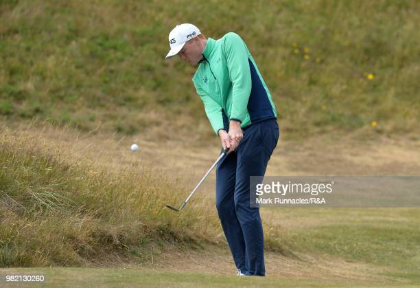 Robin Dawson of Tramore plays his second shot at 9th green during the Final of The Amateur Championship at Royal Aberdeen on June 23 2018 in Aberdeen...