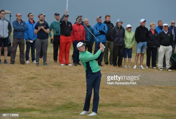 Robin Dawson of Tramore plays his second shot at the 13th green during the Final of The Amateur Championship at Royal Aberdeen on June 23 2018 in...