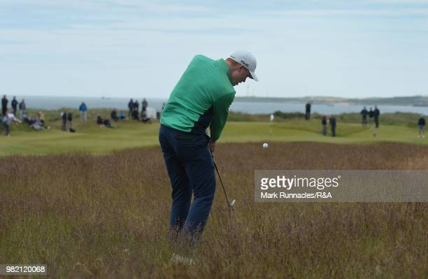 Robin Dawson of Tramore plays his second shot at the 15th hole during the Final of The Amateur Championship at Royal Aberdeen on June 23 2018 in...
