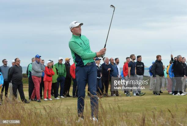 Robin Dawson of Tramore plays his second shot at the 16th hole during the Final of The Amateur Championship at Royal Aberdeen on June 23 2018 in...