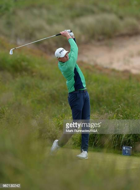 Robin Dawson of Tramore plays his tee shot at 9th green during the Final of The Amateur Championship at Royal Aberdeen on June 23 2018 in Aberdeen...
