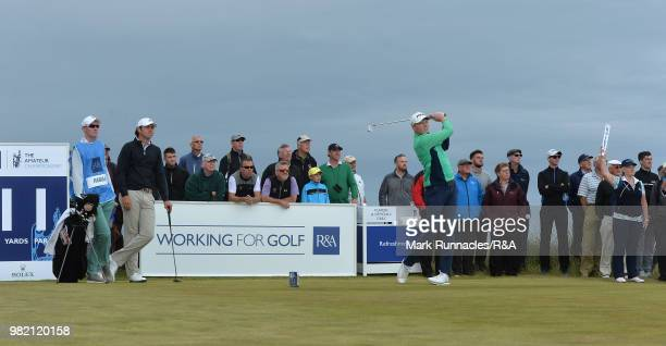 Robin Dawson of Tramore plays his tee shot at the 11th hole during the Final of The Amateur Championship at Royal Aberdeen on June 23 2018 in...