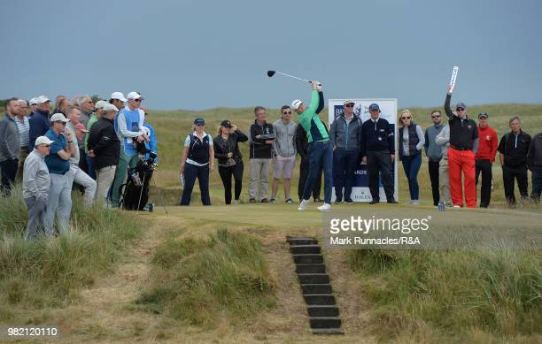 Robin Dawson of Tramore plays his tee shot at the 12th hole during the Final of The Amateur Championship at Royal Aberdeen on June 23 2018 in...