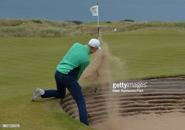 Robin Dawson of Tramore plays his third shot at the 9th hole during the Final of The Amateur Championship at Royal Aberdeen on June 23 2018 in...