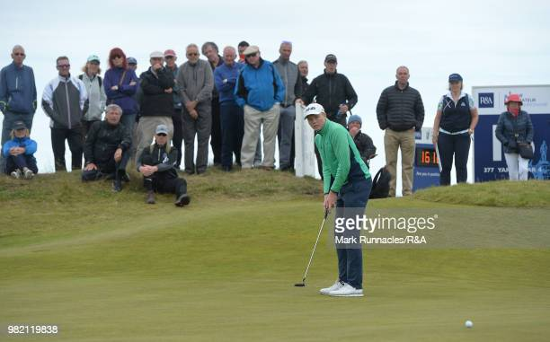 Robin Dawson of Tramore putting at the 15th green during the Final of The Amateur Championship at Royal Aberdeen on June 23 2018 in Aberdeen Scotland