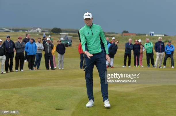 Robin Dawson of Tramore reacts after missing a putt at the 13th green during the Final of The Amateur Championship at Royal Aberdeen on June 23 2018...