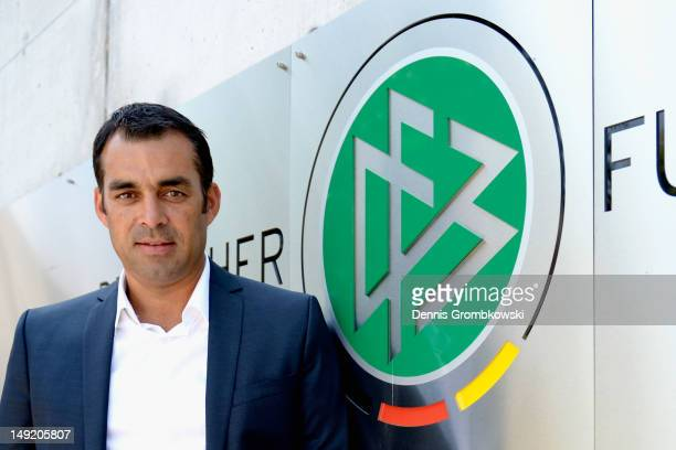 Robin Dutt poses after his presentation as the new director of sports of the German Football Federation DFB at DFB Headquarters on July 25 2012 in...