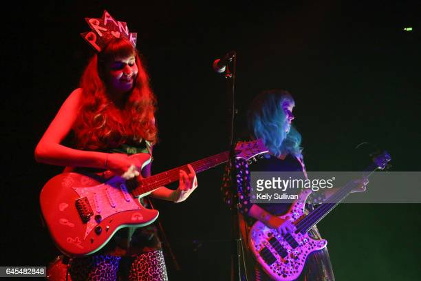 Robin Edwards performs onstage as Lisa Prank with Bree McKenna of Tacocat during the 25th annual Noise Pop Festival at Starline Social Club on...