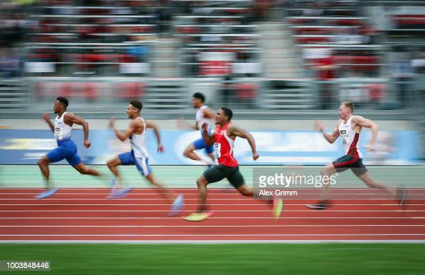 Robin Erewa of TV Wattenscheid 01 leads the men's 200 meter final during day 3 of the German Athletics Championships at Max-Morlock-Stadion on July...