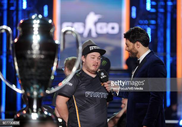 Robin flusha Ronnquist gives an interview after CounterStrike Global Offensive final game between FaZe Clan and Fnatic on March 4 2018 in Katowice...