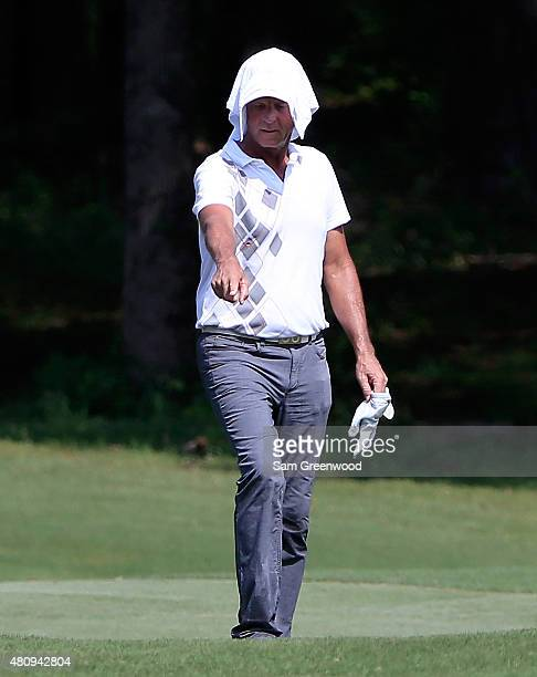 Robin Freeman of the United States points to his ball during the first round of the Barbasol Championship at the Robert Trent Jones Golf Trail Grand...