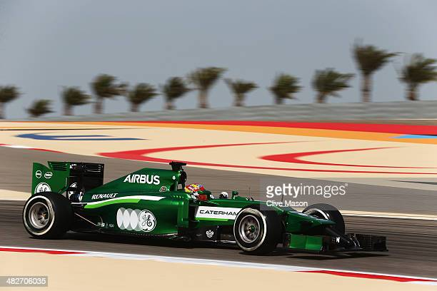 Robin Frijns of The Netherlands and Caterham drives during practice for the Bahrain Formula One Grand Prix at the Bahrain International Circuit on...